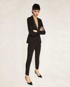 Image 2 of CROPPED TUXEDO TROUSERS from Zara