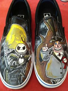 custom hand painted vans shoes by artofsarahjane on Etsy, $125.00