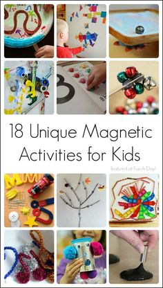 18 magnet activities for kids to learn and play with! Unique and fun ideas for learning with magnets - exploring science, math, literacy, and more. Science Experiments Kids, Science For Kids, Science Projects, Stem Projects, Craft Projects, Science Activities, Activities For Kids, Science Ideas, Montessori Science
