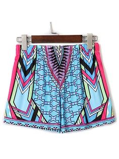 Shop Multicolor Geometric Print High Waist Tight Shorts from choies.com .Free shipping Worldwide.$10.99