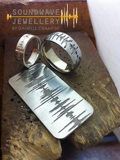 Putting the finishing touches on these Soundwave Wedding Rings and Dog Tag. Soundwave Jewelry uses your own personal recording to create a piece of jewellery unique to you! www.soundwavering.com