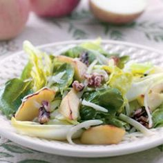 Roasted Apple & Cheddar Salad  Roasted apples and Cheddar cheese turn an ordinary mixed green salad into something extra-special. You can use pears for this recipe as well.