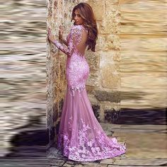 Find More Evening Dresses Information about 2016 New Fashion Long Sleeves  Lace Evening Dresses Light Pink 583225c9a963