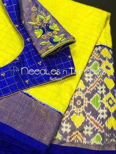 Ikat saree n blouse Pattu Saree Blouse Designs, Blouse Designs Silk, Designer Blouse Patterns, Bridal Blouse Designs, Designer Dresses, Kids Blouse Designs, Simple Blouse Designs, Stylish Blouse Design, Maggam Work Designs
