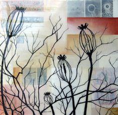 "Melissa Wagner: Illumination 20"" x 20"" Acrylic, ink, collage, spray paint, resin on canvas $950"