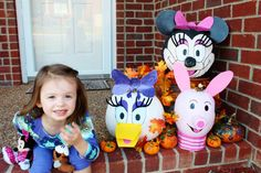 Character Pumpkins! Minnie, Daisy, and Piglet.