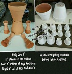 Clay flower pot cow I made with a list of pot's sizes. Clay flower pot cow, I made with a list of pot's sizes. Clay flower pot cow, I made with a list Flower Pot Art, Clay Flower Pots, Flower Pot Crafts, Clay Pot Projects, Clay Pot Crafts, Diy Clay, Flower Pot People, Clay Pot People, Painted Clay Pots