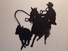 Steel Metal Art  Rodeo Calf Roper Roping Cowboy Black Flat Wall Art Sculpture Scene Metal Plasma Handcut Western Ranch decor