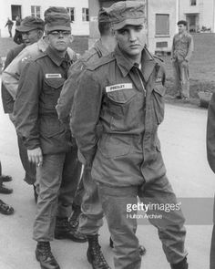 Elvis stands in line with other enlisted men and officers on a military base, Germany. #Elvis #ElvisPresley #50s