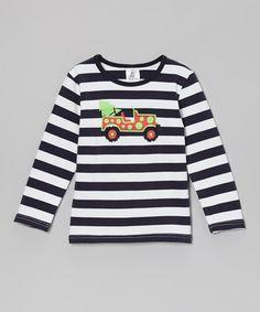 Navy Stripe Christmas Car Tee - Toddler & Kids by Dapple Gray Designs  !