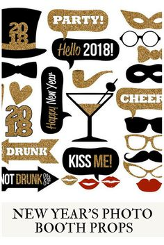 2018 New Year's Eve Photo Booth Props Collection–Printable Instant Download–Black & Gold Glitter Photo Booth Props for New Year's Eve Party #ad #newyears