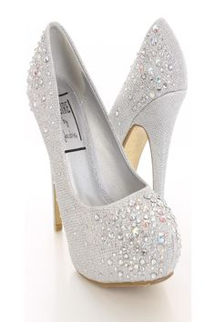 The features include a shimmer upper with faceted beaded detailing, scoop vamp, semi pointed closed toe, smooth lining, and cushioned footbed. Approximately 5 inch heels and 1 inch hidden platforms. Great bridal wedding shoes.