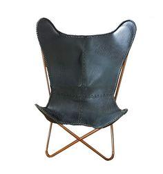 Butterfly chair - black crocodile look