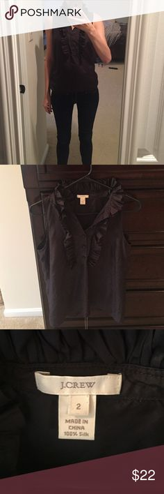 Size 2 silk J. Crew blouse Perfect condition! Worn twice. 100 percent silk J. Crew retail silk top in charcoal. Perfect with jeans or tucked into a skirt for work. Also selling an identical one in beige. Smoke free, clean home. No rips, stains, or tears. J. Crew Tops Blouses