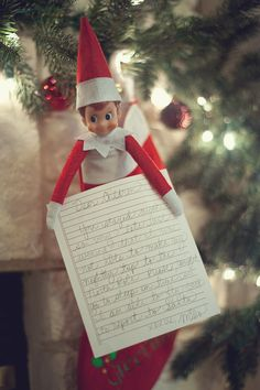 """Elf on the Shelf -- """"Dear Children, you stayed awake so very late last night that I was not able to make my nightly trip to the North Pole. Please, tonight go to sleep on time so I am able to fly back to report to Santa."""""""