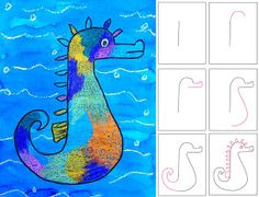 """Kids draw and paint a seahorse. Use Eric Carle's book """"Mr. Seahorse"""" as a lead in for the project. Fun!"""