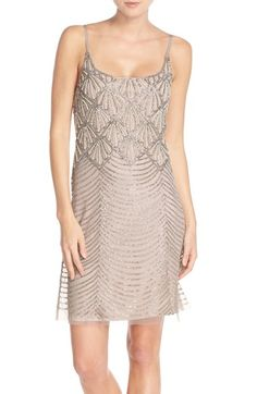 Adrianna Papell Beaded Mesh Slipdress available at #Nordstrom