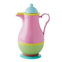 Carafe Thermo Multicolore rose - Rice - 1 litre.  La fameuse carafe thermo qui est devenue une marque de fabrique de chez Rice, revue et visitée en mode arc en ciel !  Dimensions : 15x32cm