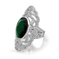 Oval Green Emerald Color CZ Armor Ring Woven Vintage Art Deco Style