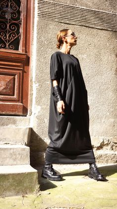 NEW SPRING Collection Black  Kaftan Front Cross Pockets by Aakasha