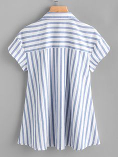 SheIn offers Contrast Striped Petal Sleeve Dip Hem Shirt & more to fit your fashionable needs. Stylish Kurtis Design, Ärmelloser Pullover, Blue Fashion, Fashion Outfits, Look Office, Petal Sleeve, Make Your Own Clothes, Sleeveless Jacket, Shirt Refashion