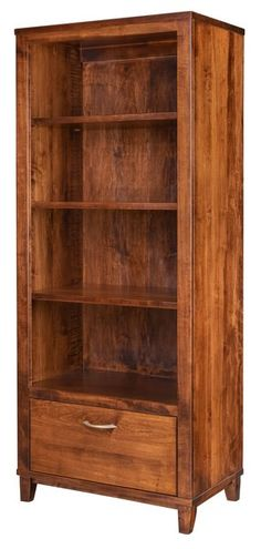 Amish Integra Bookcase Spacious shelves with one file drawer. Built in wood and stain of your choice. American made in Amish country.