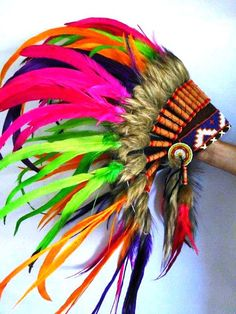Indian Iris Colorful Feather Headdress #iHeartRaves #iHeartRaveFashion