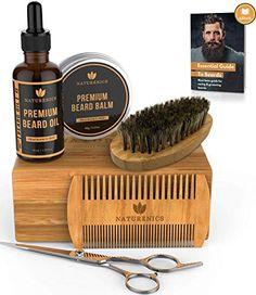 Naturenics Premium Beard Grooming Kit for Men - Organic Unscented Beard Oil, Beard Balm Butter Wax, Beard Brush, Beard Comb, Beard Scissors for Beard & Mustache-with Bamboo Gift Set & eBook Beard Oil And Balm, Beard Balm, Beard Grooming Kits, Beard Kits, Beard Conditioner, Beard Brush, Beard Trimming, Beard No Mustache, Butter