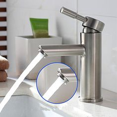 Contemporary Nickel Finish 304 SUS Stainless Steel Single Hole Single Handle Bathroom Sink Faucet At FaucetsDeal.com Best Bathroom Faucets, Bathroom Sink Faucets, Cheap Bathrooms, Amazing Bathrooms, Modern Traditional, Nickel Finish, Brushed Nickel, It Is Finished, Handle