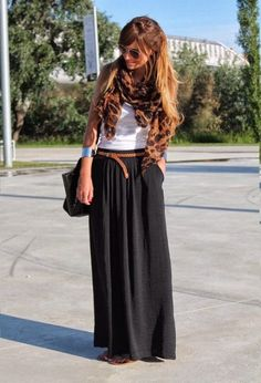 Black maxi, brown belt, white tee and leopard scarf. Love love love.