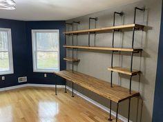 Butcher Block Office Desk Built-In Shelves Above Desk, Office Shelving, Office Shelf, Built In Shelves, Home Office Desks, Diy Office Desk, Ikea Office, Diy Desk, Industrial Home Offices