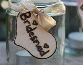 Personalized Heart Tag, Rustic Wedding Place Cards, Escort Cards, Wine Glass Charm Custom Hand Dyed Ribbon Color, Rustic Shabby Chic Wedding