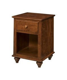 Amish Wilkensburg 1-Drawer Nightstand Solid wood nightstand with one drawer and spacious cubby. Built in choice of wood, finish and hardware. Amish made in America. #nightstands #woodbedroomfurniture