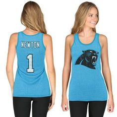 Cam Newton Carolina Panthers Majestic Threads Women s Primary Logo Name    Number Tank Top - Panther Blue 89b947d43