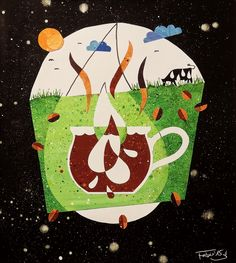 Do You Take Milk Into Your Coffee? - editorial illustration by Daniela Faber, collage/ acrylics 2015  coffee, milk, cow, grass, drop, cappuccino, latte macchiato, environment, farmer