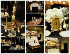 We're absolutely loving the black & gold color scheme with the touches of metallics going on throughout the wedding reception.