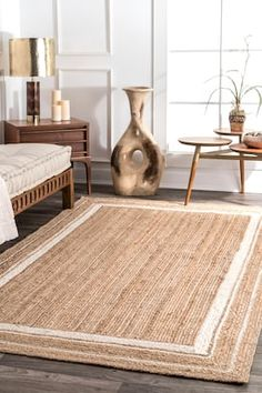 Rugs USA Off White Boardwalk Jute Braided Saturn Border rug – Natural Fibers Round - Rugs Magazine Decor, Large Floor Pillows, Natural Fiber Rugs, Jute Rug Runner, Rugs, Rug Runner, Jute Area Rugs, Home Decor, Jute