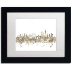 Trademark Fine Art London Skyline Sheet Music Canvas Art by Michael Tompsett White Matte, Black Frame, Size: 16 x 20