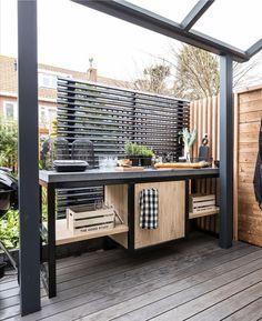 Outdoor Cupboard, Outdoor Bbq Kitchen, Backyard Kitchen, Outdoor Kitchen Design, Backyard Patio, Small Backyard Design, Balcony Design, Small Patio, Patio Design