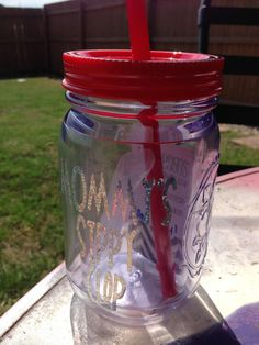 mommy's sippy cup. mason jar. plastic. bpa free. by duvdesigns, $12.00