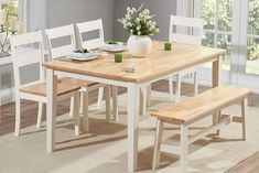 Bonsoni is proud to present this Claire Dining Table + 4 Dining Chairs + 1 Large Bench (Oak and Cream/White/Oak and Grey/Oak and White). This is a beautiful, strong, and sturdy Dining Table Sets. This Claire Dining Table + 4 Dining Chairs + 1 Fall Dining Table, Dining Set With Bench, Solid Oak Dining Table, Oak Dining Chairs, Wooden Dining Tables, Oak Table, Dining Room Furniture, Table And Chairs, Dining Sets