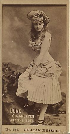 "Duke Cigarette trade card of an Andersen photo of Lillian Russell as Patience in an unauthorized American production of ""Patience,"" circa 1882."