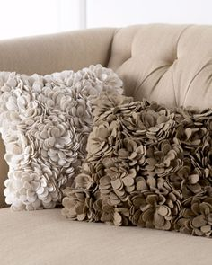 Add a delicate touch of florals with the SFERRA Delancey felt pillow for Horchow, in Tan, Ivory, or Blue.