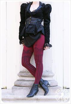 Burlesque Leggings  Womens GARTER Legging  BURGUNDY by Carouselink, $32.00