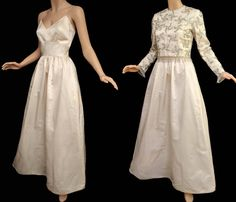 Vintage 60s Wedding Gown // 1960s Cream Wedding Dress // Spaghetti Strap Silk Dress // Heavily Beaded Top with Beaded Fringe