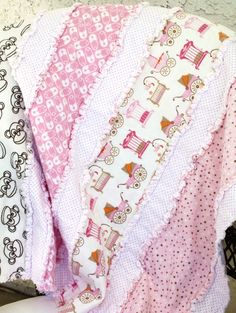 Baby Girl Flannel Rag Quilt Blanket 30x33 by BubbyBearBlankets, $29.00