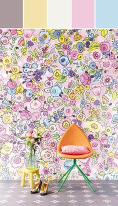 FleurFlor XL Blush Modern Floral Motif  Designed By Brewster Home Fashions via Stylyze