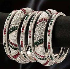 #Red, #Green and #White Stone and Beads Studded #Bangles Set @ $21.13