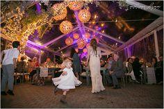 Coral Globes, Purple uUplighting, Tent Lighting, Tree Lighting - The Allan House - Photo by Melissa Glynn | by Intelligent Lighting Design