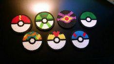 Set of 7 Perler Pokeball Pokemon Coasters by poorphdstudents